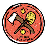 Scouting club emblem with crossed ax and nettle Royalty Free Stock Photos