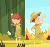 Scouts Activities Cartoon Banners Set Stock Photography