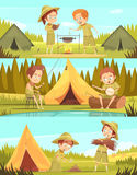 Scouts Activities Cartoon Banners Set. Scouting boys summer camp activities 3 retro cartoon horizontal banners set with campfire cooking isolated vector Royalty Free Stock Photo