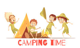 Scouts Camping Retro Cartoon Poster. Boys scouts summer camp activities retro cartoon poster with playing indian and singing campfire songs vector illustrations Stock Images