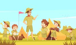 Scouts Camping Retro Cartoon Poster Royalty Free Stock Photos