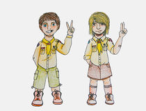 Scouts - a couple of kids in scout costumes Royalty Free Stock Photo