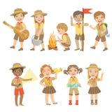 Scouts d'enfants augmentant l'ensemble illustration libre de droits