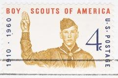 Scouts de garçon d'estampille des USA du cru 1960 Photographie stock libre de droits