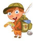 Scouts de garçon personnage de dessin animé drôle Images stock
