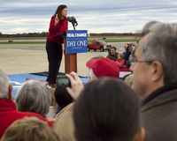 Scouts Honor. Kelly Ayotte holding up two fingers as if saying Scouts Honor Royalty Free Stock Photos