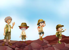 Scouts. Illustration of many children in scout uniform Royalty Free Stock Photography
