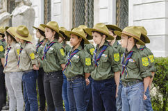 Scouts in line. Boys and girls scouts stand lined up on May 10, 2014 in Bucharest, Romania stock images