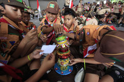 Scouts. Make toys from recycled materials in the city of Solo, Central Java, Indonesia royalty free stock photo