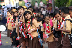 Scouts. March while welcoming guests who visit in Sragen, Central Java, Indonesia royalty free stock images