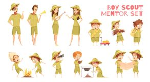 Scouts Mentors Cartoon Icons Set. Mentors guiding boy scouts orienteering with map outdoor camp activities retro cartoon icons series isolated vector Stock Photography