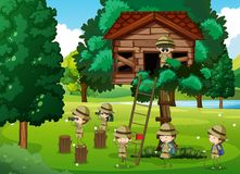 Scouts playing in the treehouse. Illustration Stock Photography