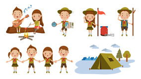 Scouts. Scout honor character Set. Children hand in hand. hand gesture Camping. Boy playing guitar around the campfire. Kid studying a tour route map. camping Royalty Free Stock Photo