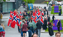 The scouts in Stavanger at the parade. The scouts on the streets at norwegian constitution day in Stavanger royalty free stock image