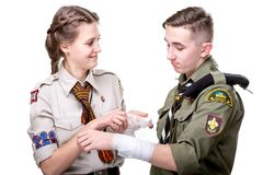 Scouts in studio Royalty Free Stock Images