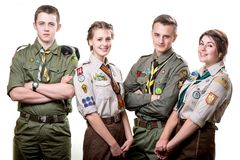 Scouts in studio Stock Image