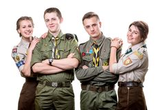 Scouts in studio Royalty Free Stock Photography