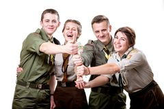 Scouts in studio Stock Photo
