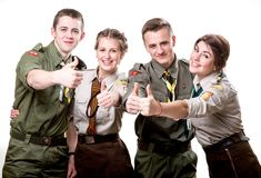Scouts in studio Stock Images