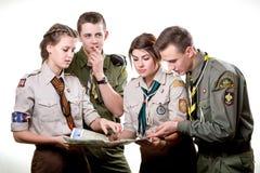 Scouts in studio Stock Photo