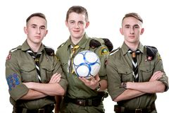 Scouts in studio Royalty Free Stock Photos