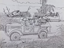 Scouts U.S. Marine in Vietnam. U.S. Marine Corps intelligence on captured jeep GAZ-69A in Vietnam Royalty Free Stock Images