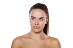 Scowling woman Royalty Free Stock Images