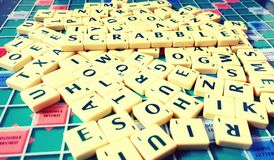 Scrabble Alphabets to make words royalty free stock photo