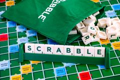 Scrabble Board Game. Word Scrabble from letter tiles in the tile Stock Photography