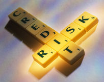 Scrabble credit risk Royalty Free Stock Image