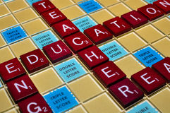 Scrabble Education. Education-related words spelled out on a scrabble board Stock Photo
