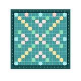 Scrabble of erudiet vierkant raadsontwerp met net van lege kleurrijke cellen Populaire intellectuele tafelbladrebus voor vector illustratie