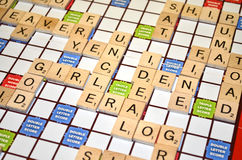 Scrabble game result scores (Close-up) Royalty Free Stock Photos