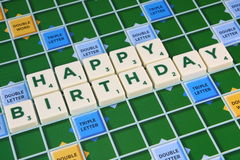 Scrabble HAPPY BIRTHDAY Stock Photos