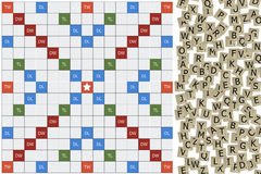 Scrabble with letter blocks which is crosswords game. The scrabble board with letter blocks which is crosswords game. It is prepared to play Royalty Free Stock Images
