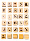 Scrabble letter English alphabet uppercase. On white from above royalty free stock photo