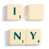 Scrabble Letter Tiles for I Blank NY Concept. Close up Off-White Wooden Scrabble Letter Tiles for I Blank NY Concept, Isolated on White Background stock image