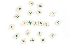Scrabble Letter Tiles For Image Concept on White Stock Photos