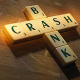 Scrabble letters bank crash Stock Image