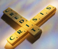 Scrabble letters credit crisis Royalty Free Stock Photo