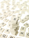 Scrabble pieces full frame Royalty Free Stock Photos