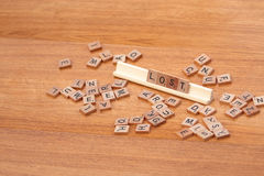 Scrabble pieces spelling lost Stock Image
