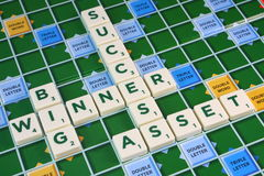 Scrabble SUCCESS WINNER BIG ASSET Stock Photos