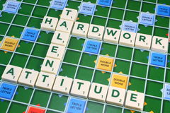Scrabble TALENT HARDWORK ATTITUDE Stock Photography