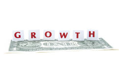 Scrabble tiles forming the word growth Stock Photos