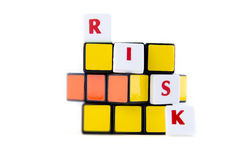 Scrabble tiles forming the word risk Royalty Free Stock Photos