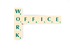 Scrabble Tiles for Work and Office Crossword Royalty Free Stock Photo