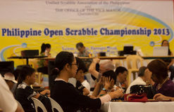 Scrabble tournament. Philippines nationwide scrabble championship held in Farmers Mall, Manila sponsored by the office of city vice mayor and Unified Scrabble royalty free stock photos