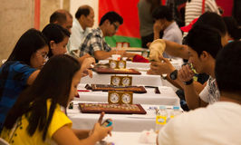 Scrabble tournament. Philippines nationwide scrabble championship held in Farmers Mall, Manila sponsored by the office of city vice mayor and Unified Scrabble stock photography