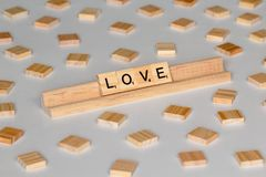 Scrabble tiles spelling Love royalty free stock photo